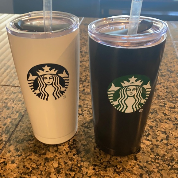 2 Thermal Insulated Starbucks Tumblers With Straws